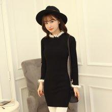 百依恋歌 新款韩版女士半高领中长款毛边针织衫 BL2025