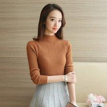轩品媛 春季新款女士高领衫短款套头毛衣修身打底针织衫韩版 20015871