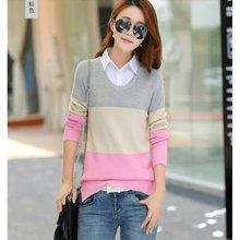亿族 秋冬装新款韩版拼色衬衫领假两件女装毛衣长袖打底衫针织衫