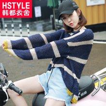韩都衣舍 新品 韩版女装春装新款宽松立体装饰毛针织衫