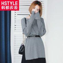 韩都衣舍2017春装新款女韩版圆领宽松显瘦开叉长袖针织衫