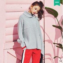 韩都衣舍 新品 韩版女装春装新款条纹宽松中长款针织衫