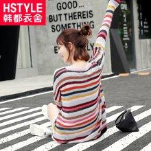 韩都衣舍 新品 韩版女装春新款套头v领长袖镂空针织衫