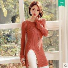 韩都衣舍 新品 韩版女装春新款蕾丝拼接显瘦圆领长袖针织衫