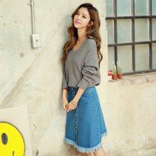 韩都衣舍 新品 韩版女装春装新款宽松显瘦V领长袖毛衣开衫