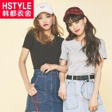 韩都衣舍2017韩版女装夏装新款V领修身短袖针织衫JM7108發
