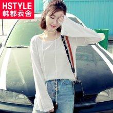 韩都衣舍17韩版女夏装新款显瘦纯色流苏喇叭袖开叉针织衫NH7195煜