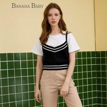 BANANA BABY新款学院风修身针织吊带背心女短款韩版D73M053