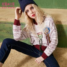 妖精的口袋春装宽松毛球撞色纱线毛球装饰圆领套头保暖毛衣短款女