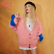 妖精的口袋春装甜美宽松撞色上衣丝绒蝴蝶结粉色开衫针织衫毛衣女