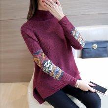 百依恋歌 新款女装毛衣宽松短款套头针织衫韩版纯色加厚高领打底衫 BL2389