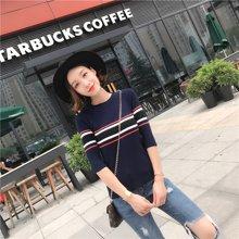 百依恋歌 秋季修身显瘦女装条纹百搭韩版五分袖针织衫 hh055