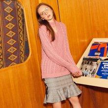 BANANA BABY秋冬新款小高领镂空毛衣女复古优雅中长款针织衫D74M018