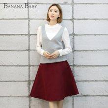 香蕉宝贝 秋装新款 韩版学院风V领无袖宽松百搭针织衫背心女D53M830