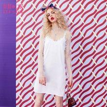 妖精的口袋春装欧美街头修身甜美性感蕾丝背心吊带裙子中长款女-