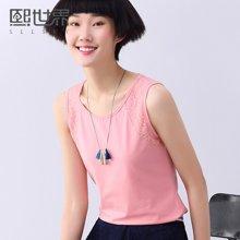 熙世界2018夏上衣蕾丝拼贴圆领无袖针织短款背心女NV106