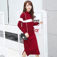 百依恋歌 韩版时尚修身中长款加厚针织连衣裙套装 BY1079