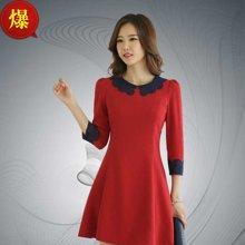 薇语馨 7692 韩版红色娃娃领九分袖收腰A字连衣裙
