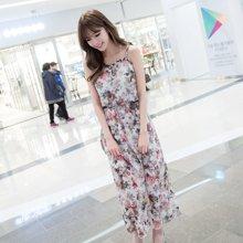 Pengla2017韩国新品女连衣裙 夏季波西米亚碎花吊带长裙沙滩裙F6626