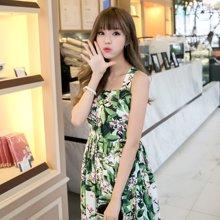 pengla2017新款夏装 绿色心情印花吊带修身夏季新品连衣裙F6667