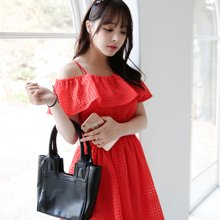 pengla夏季新款 甜美修身露肩吊带欧根纱连衣裙F6668