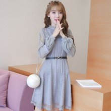 百依恋歌 新款修身显瘦纯色中长款灯笼袖蕾丝连衣裙 BLWH1669