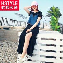 韩都衣舍2017韩版女装夏装新款显瘦两件套长裙连衣裙