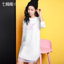 七格格 2017 春装新款 纯色印花假两件宽松长袖A字连衣裙
