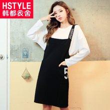 韩都衣舍2017韩版女装春装新款字母印花直筒背带连衣裙