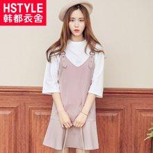 韩都衣舍2017韩版女装春装新款显瘦两件套背带连衣裙