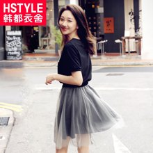 韩都衣舍2017韩版女装夏新款高腰网纱两件套短袖连衣裙