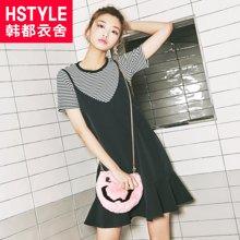 韩都衣舍2017韩版女装夏装新款显瘦条纹两件套吊带连衣裙