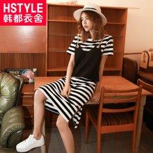 韩都衣舍2017韩版女装夏装新款条纹两件套吊带连衣裙