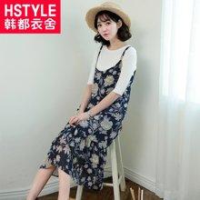 韩都衣舍2017韩版女装夏装新款纯色碎花吊带连衣裙LZ6820烎0330