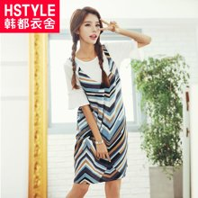 韩都衣舍2017韩版女夏装新款印花两件套吊带连衣裙DU6245樱0425