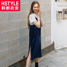 韩都衣舍2017韩版女夏新款纯色中长款吊带连衣裙DU7351莯0428