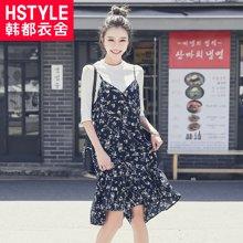 韩都衣舍2017韩版女装夏装新款印花荷叶边吊带连衣裙JT8273娮