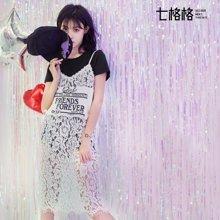6.18新品 七格格2017夏街头字母印花浪漫蕾丝宽松吊带连衣裙L657
