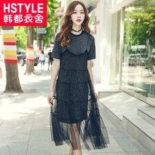 韩都衣舍2017韩版女夏新款网纱吊带两件套长款连衣裙JT8253娮0608