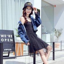 韩都衣舍2017韩版女装夏装新款纯色吊带网纱连衣裙LU7355荃0621