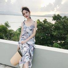 7.7新品 七格格夏新款时尚宽松特色印花吊带绑带长裙连衣裙X1294