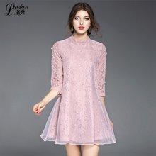 洛樊2017春季新款欧美女装提花蕾丝拼接欧根纱订珠A字裙LF61873149