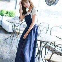 芃拉实拍 夏季短袖女装代销韩版高腰连衣裙雪纺背带两件套长裙 F6848