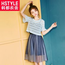韩都衣舍2017韩版女装夏装新款宽松显瘦短袖两件套连衣裙