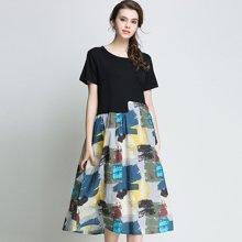 亿族 2018夏季新款宽松大码女装胖MM百搭黑色拼接撞色印花女连衣裙 6863