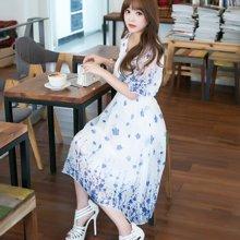 DOWISI实拍2017夏季新款韩版女装 碎花中袖蓬蓬雪纺连衣裙1206642