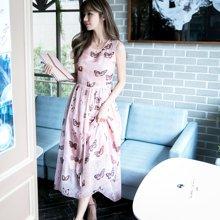 DOWISI2017新款夏季长裙蝴蝶时尚少女连衣裙8736655