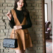 DOWISI实拍日韩女装新款韩版时尚鹿皮绒背带裙 V领显瘦修身连衣裙6416826