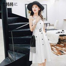 新品 七格格 吊带连衣裙女装2018春装新款韩版性感显瘦气质白色腰带中长晚礼服