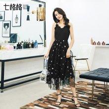 新品 七格格 黑色蕾丝连衣裙女2018春季装新款韩版气质显瘦性感小礼服中长裙子